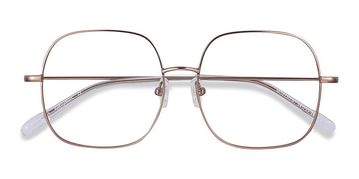 Unisex Square Rose Gold Metal Prescription eyeglasses - EyeBuydirect's Movement