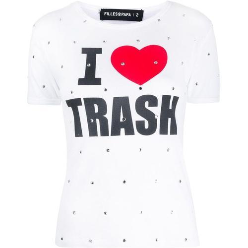 Filles A Papa T-Shirt mit Kristallen