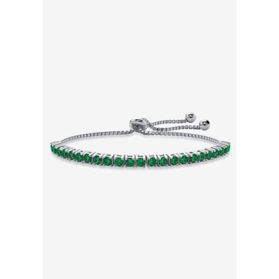"""Silver Tone Bolo Bracelet (4mm), Simulated Birthstone 9.25"""" Adjustable by PalmBeach Jewelry in May"""