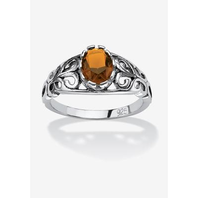 Sterling Silver Simulated Birthstone Ring by PalmBeach Jewelry in November (Size 10)