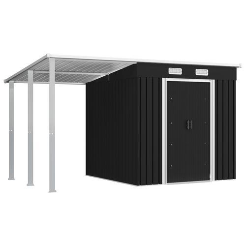 vidaXL Gerätehaus mit Vordach Anthrazit 346×193×181 cm Stahl