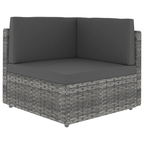 vidaXL Modulares Sofa-Eckteil Poly Rattan Grau