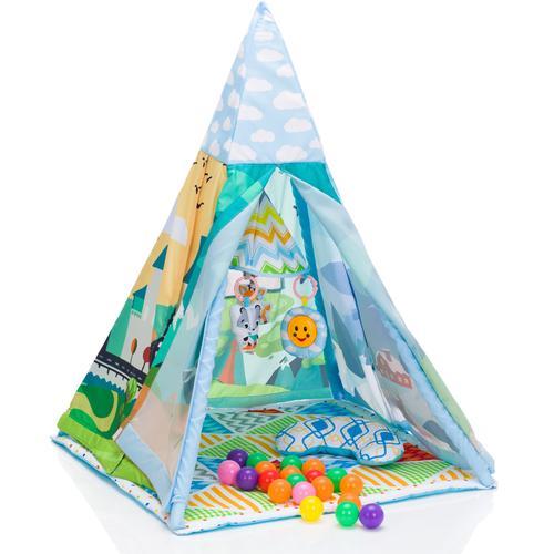 Fillikid Spielzelt Tipi, Landschaft bunt Kinder Spieltunnel Outdoor-Spielzeug