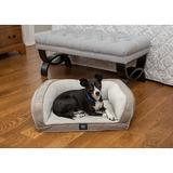 Serta Quilted Orthopedic Bolster Dog Bed w/Removable Cover, Gray, Petite