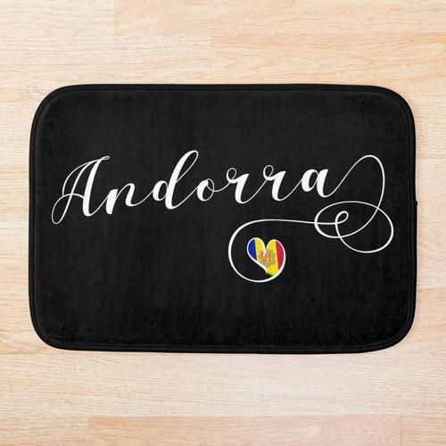 Herz Andorra, Andorra-Flagge, Liebe Andorra Badematte