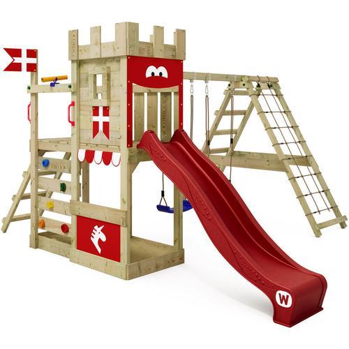 Spielturm Ritterburg DragonFlyer mit Schaukel & roter Rutsche, Spielhaus mit Sandkasten,