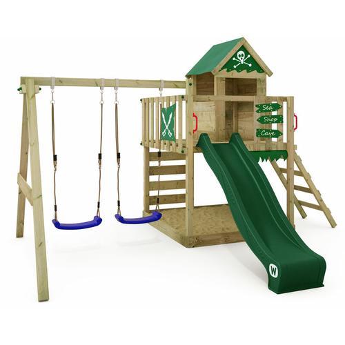 Spielturm Klettergerüst Smart Cave mit Schaukel & grüner Rutsche, Baumhaus mit Sandkasten,