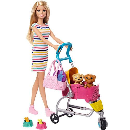 Barbie Hunde-Buggy Spielset mit Puppe (blond), Anziehpuppe, Modepuppe