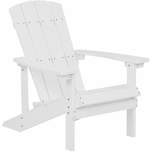 Gartenstuhl Weiß Kunstholz Muskoka Stuhl mit breiten Armlehnen Gartenmöbel Gartenausstattung Lounge