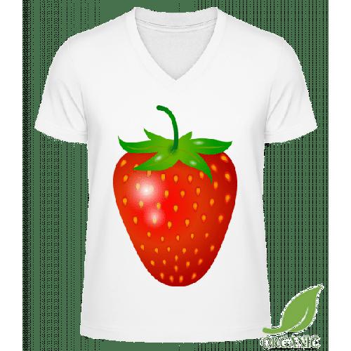 Erdbeere - Männer Bio V-Neck T-Shirt