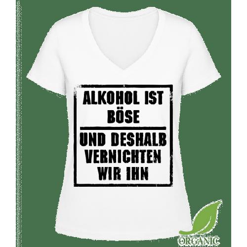 Alkohol Ist Böse - Janet Bio T-Shirt V-Ausschnitt