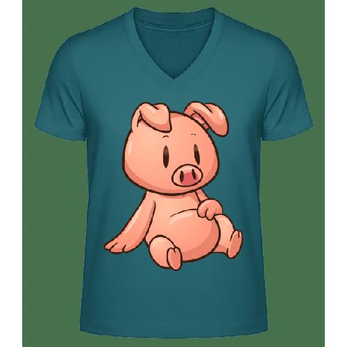Schweinchen Sitzend Comic - Männer Bio T-Shirt V-Ausschnitt