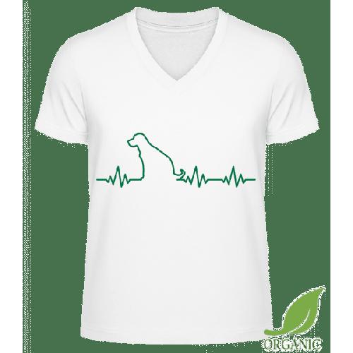 Herzschlag Hund - Männer Bio V-Neck T-Shirt