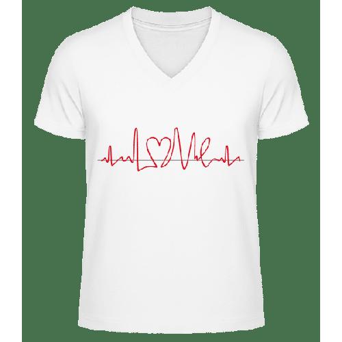 Herzfrequenz - Männer Bio T-Shirt V-Ausschnitt