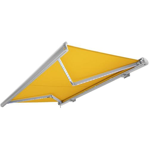 Kassettenmarkise elektrisch Vollkassettenmarkise mit LED, Markise gelb, Kassette weiß, Funk
