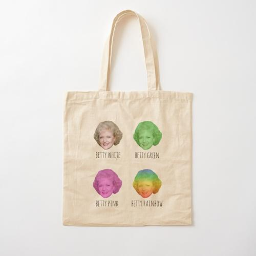 Betty White. Betty Pink. Betty Rainbow! Baumwolltasche