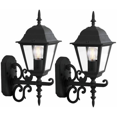 Fassaden Außen Wand Lampen Glas Alu Laternen Landhaus Stil Garten Leuchten schwarz