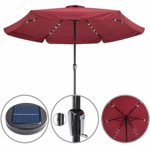 Sonnenschirm Ø330cm Alu LED Beleuchtung Solar Gartenschirm Marktschirm Kurbel rot