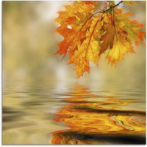 Artland Glasbild Herbstblätter, Blätter, (1 St.) braun Glasbilder Bilder Bilderrahmen Wohnaccessoires