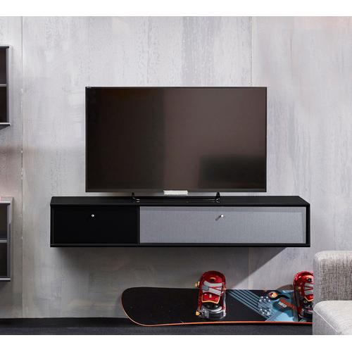 hammel Media-Board MISTRAL, Korpus mit glatter Oberfläche, Klapptür Akustikstoff, Danish Design schwarz Hängeregale Wandregale Wandboards Regale