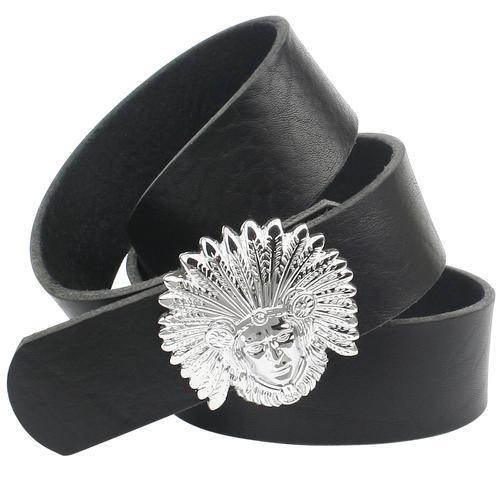 Anthoni Crown Ledergürtel, mit Indianer-Kopf schwarz Damen Ledergürtel Gürtel Accessoires