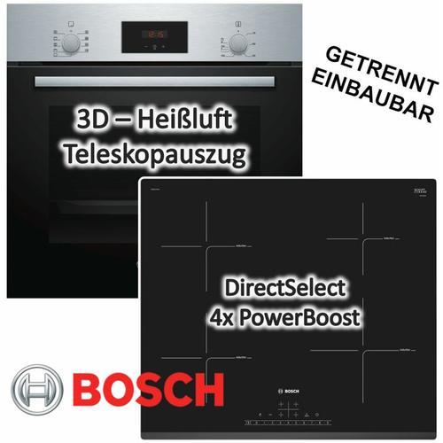 HERDSET INDUKTION AUTARK 3D Heißluft Backofen + Induktions Kochfeld 60cm Facette - Bosch