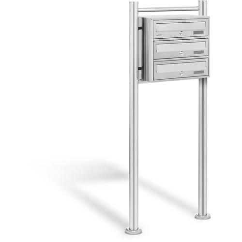 Design Edelstahl Briefkasten Haus Standbriefkasten Postkasten 3 Fächer Schloss