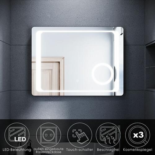 LED Badspiegel 60x80cm Touch Lichtspiegel mit Kosmetikspiegel und Steckdose