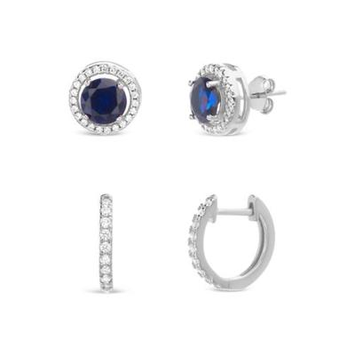 Belk Silverworks Silver Sterling Silver Lab Created Blue Sapphire and Cubic Zirconia Earring Set