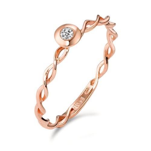 Solitär Ring 750/18 K Rotgold Diamant 0.03 ct
