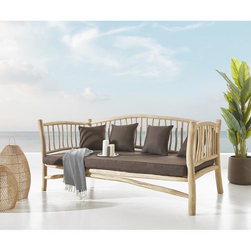 DELIFE Outdoorsofa Melania 212x103 cm Teak Natur mit Kissen braun, Gartenmöbel