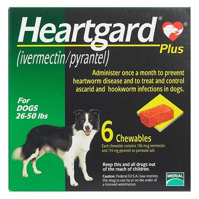 Heartgard Plus Chewables For Medium Dogs 26-50lbs (Green) 6 Doses -