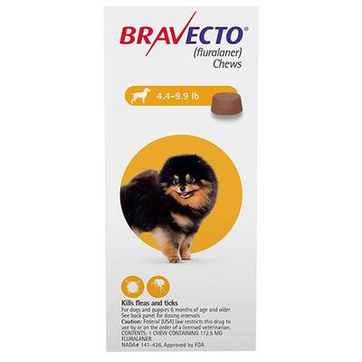 Bravecto (Yellow) - Toy Dogs 4.4 to 9.9 lbs 1 Chew -
