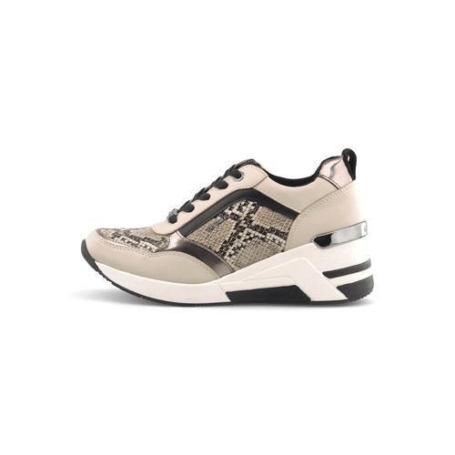 TOM TAILOR Damen Schlangen Sneaker Wedges, beige, Gr.40