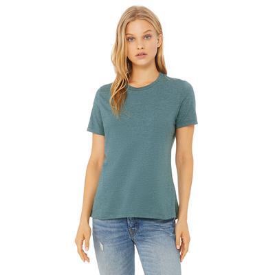 Bella + Canvas 6400CVC Women's Relaxed Heather CVC Short-Sleeve T-Shirt in Deep Teal size XL | Cotton/Polyester Blend