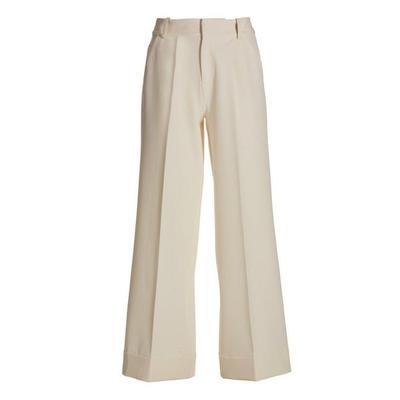 Boston Proper - High-Waist Wide-Leg Crepe Pant - Off White - 04