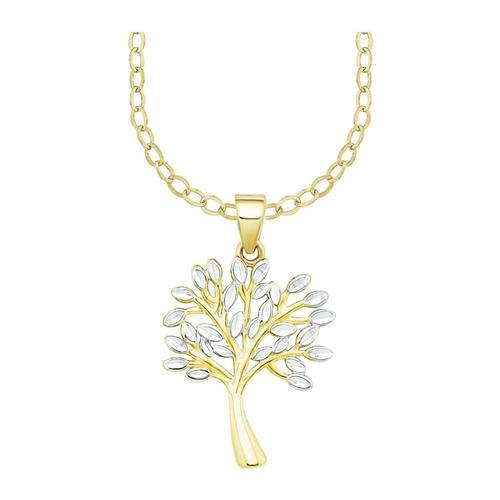 Kette mit Anhänger für Damen, Gold 375, Lebensbaum amor Bicolor