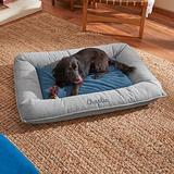 Frisco Personalized Orthopedic Bolster Dog Bed w/Removable Cover, Harbour Blue, X-Large