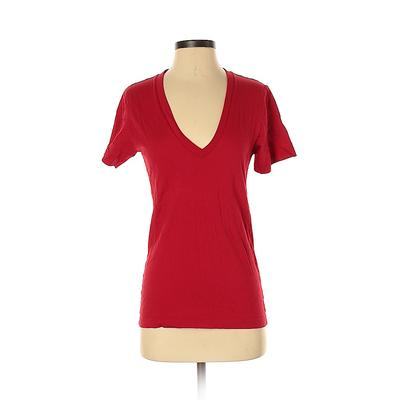 American Apparel - American Apparel Short Sleeve T-Shirt: Red Solid Tops - Size X-Small