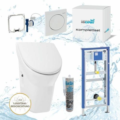 Hsi-expert - Geberit Duofix Basic Urinal Element + Urinal ohne Deckel+ Drückerplatte Samba + Siphon