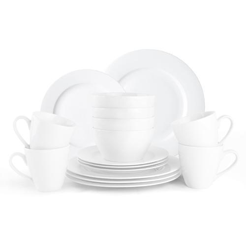 JACKIES BAY Frühstücks-Geschirrset Jackies Bay White, (Set, 16 tlg.), Porzellan weiß Frühstücksset Eierbecher Geschirr, Tischaccessoires Haushaltswaren