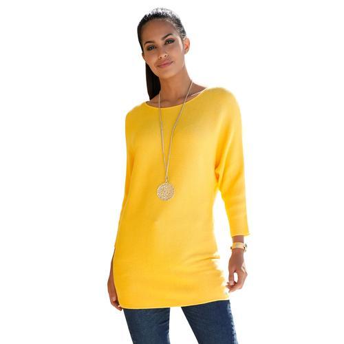 Amy Vermont Fledermauspullover, mit Fledermausärmel gelb Damen Rundhalspullover Pullover Fledermauspullover