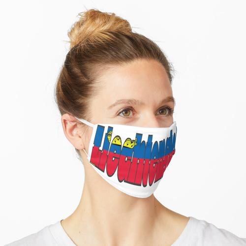 Liechtenstein Schriftart mit liechtensteiner Flagge Maske