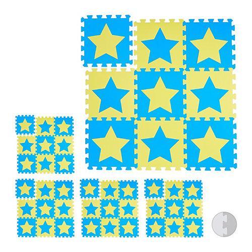 45 x Puzzlematte Sterne Schaumstoffmatte Krabbelmatte Kindermatte Spielematte gelb-kombi