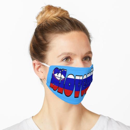 Slowenien Schriftart mit slowenischer Flagge Maske