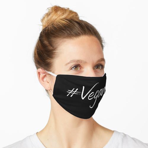 Cooler schwarzer Mundschutz mit der Aufschrift Vegan Maske