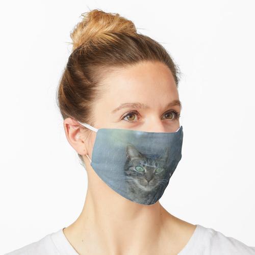 Katze hinter einer Glasscheibe Maske