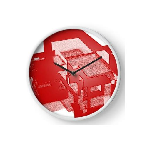 architektur in rot Uhr