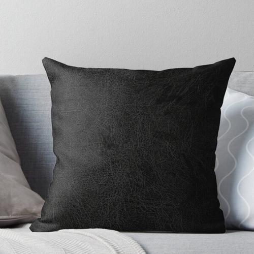 Black leather Throw Pillow