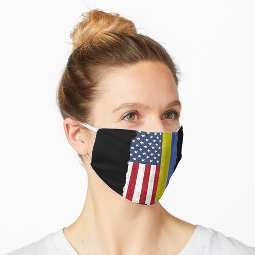 USA mit ukrainischen Wurzeln Fahnen Amerikaner und Ukraine Flagge Maske